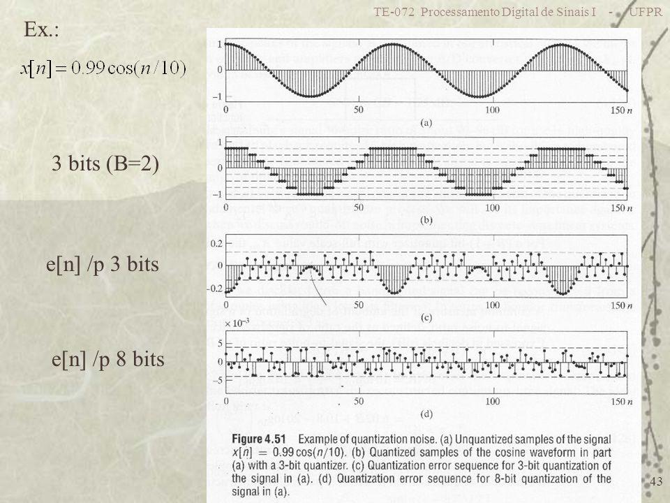 Ex.: 3 bits (B=2) e[n] /p 3 bits e[n] /p 8 bits